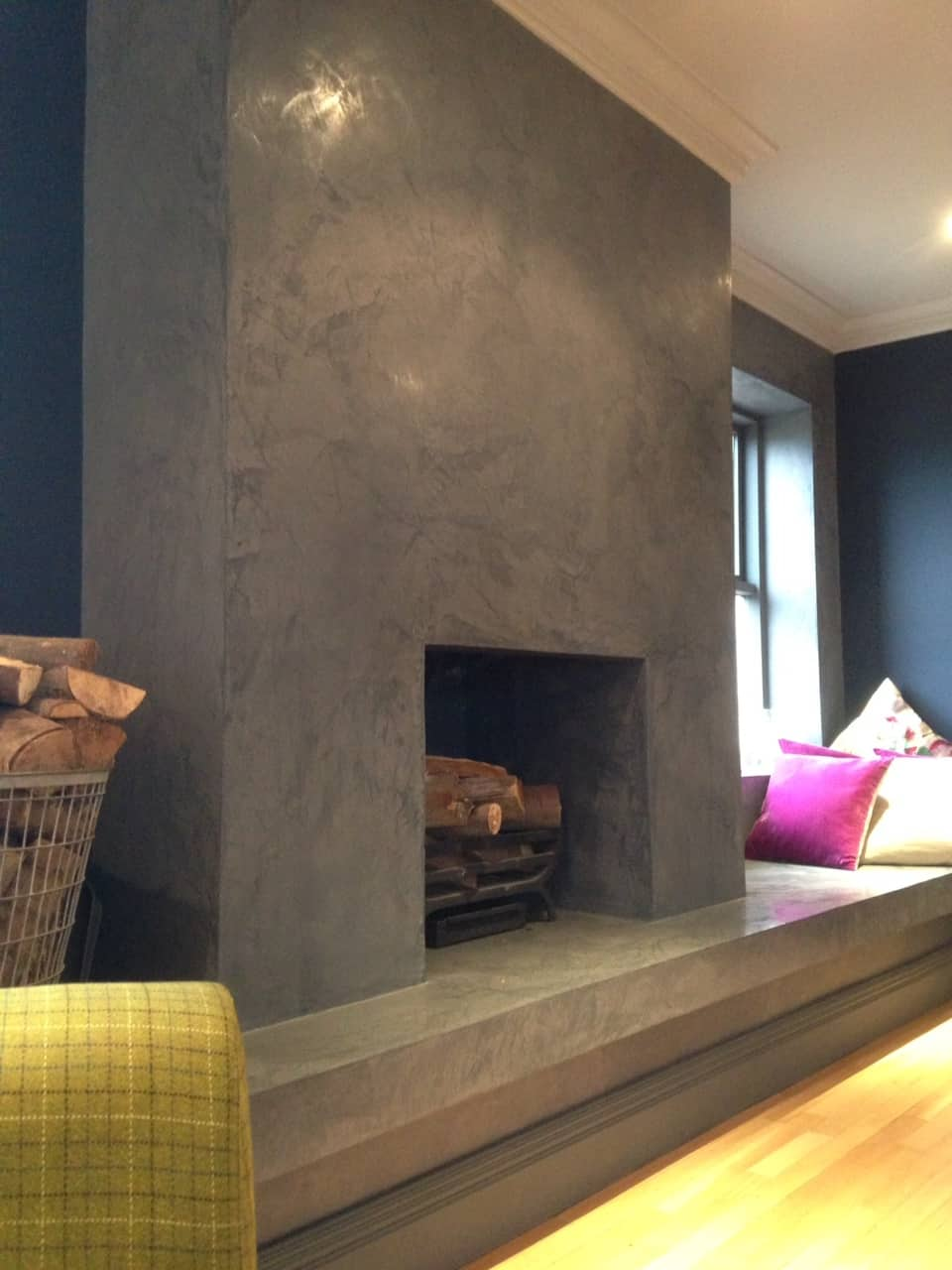 Polished Plaster Feature Fireplace 1
